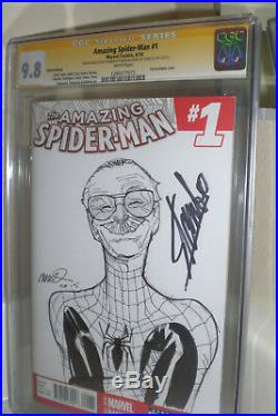 AMAZING SPIDER-MAN #1 Stan Lee Humberto Ramos Signed Art Sketch CGC 9.8 Marvel