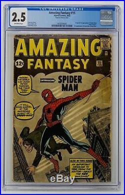 Amazing Fantasy #15 CGC 2.5 Marvel 1962. Origin & 1st Appearance of Spider-Man