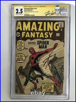 Amazing Fantasy #15 CGC 2.5 RARE SIGNATURE SERIES! By Stan Lee! Trimmed