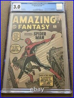 Amazing Fantasy # 15 CGC 3.0 1st Appearance & Origin of Spider-Man +++