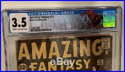 Amazing Fantasy #15, CGC 3.5, First Appearance Of Spiderman! No reserve