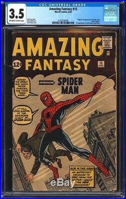 Amazing Fantasy 15 CGC 3.5 Origin and 1st app of Spider-Man! WORLDWIDE SHIPPING