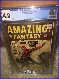 Amazing Fantasy #15 CGC 4.0 1st Spider-Man! Silver Age Grail! F9 121 cm clean