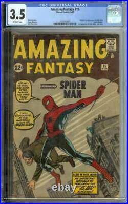 Amazing Fantasy #15 Cgc 3.5 Ow Pages // Origin + 1st App Spider-man Marvel 1962