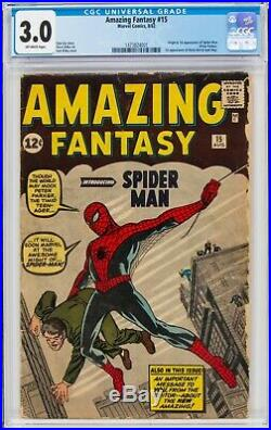 Amazing Fantasy #15 First Appearance of Spider-Man CGC 3.0 G/VG Off-White Pages