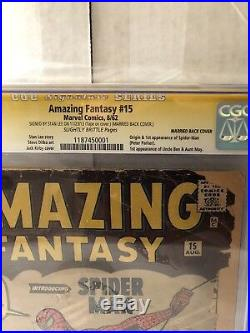 Amazing Fantasy #15 cgc First Spider Man Comic Book Signed By Stan Lee