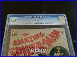 Amazing Spider-Man #1 1963 CGC Graded 1.8 Origin Retold unrestored Lee Ditko