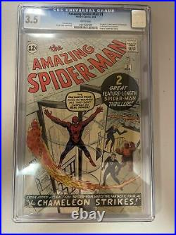 Amazing Spider-Man 1 CGC 3.5 WHITE PAGES 1st Chameleon 2nd Peter Parker