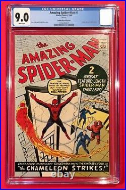 Amazing Spider-Man #1 -CGC 9.0 White Pages- Golden Record Reprint Marvel 1966