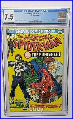 Amazing Spider-Man #129 Punisher 1st Appearance 1974 CGC Graded 7.5