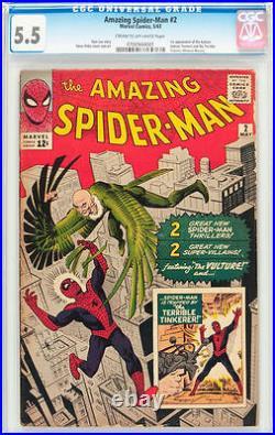 Amazing Spider-Man #2 CGC 5.5 Marvel 1963 1st Vulture! Avengers! F4 701 1 cm