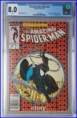 Amazing Spider-Man #300 CGC 8.0 WHITE PGS! FIRST VENOM! CLASSIC! NEWSSTAND! HOT