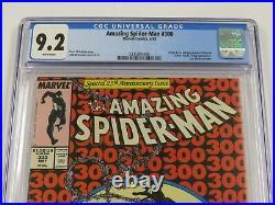 Amazing Spider-Man #300 CGC NM- 9.2 White Pages 1st Venom (1988 May, Marvel)