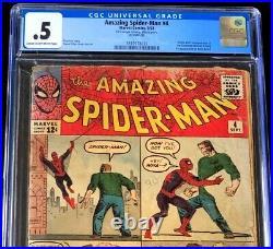 Amazing Spider-Man #4 CGC 0.5 1st App of the SANDMAN Marvel Comic 1963