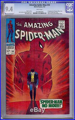 Amazing Spider-Man #50 CGC 9.4 1967 WHITE pages! 1st Kingpin Daredevil F3 clean