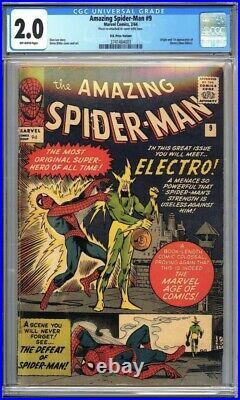 Amazing Spider-Man #9 CGC 2.0 Origin & 1st app. Of Electro (Max Dillon) L@@K