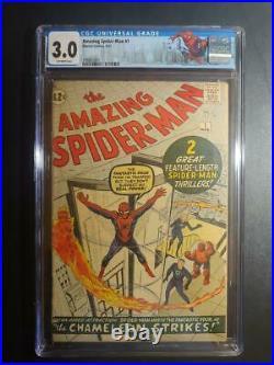 Amazing Spider-man #1 Cgc 3.0 2nd App Spider-man 1st Jj / New Case/ Label 1963