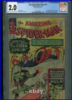 Amazing Spider-man 14 Cgc 2.0. 1st Green Goblin Light Tan To Off-white Pages
