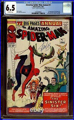 Amazing Spider-man Annual 1 CGC 6.5 Stan Lee Sig 1st Sinister Six