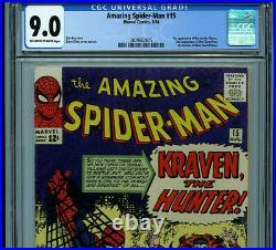 Amazing Spider-man Issue #15 CGC 9.0 Marvel Comics 1964 1st Kraven K23