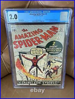 Amazing Spiderman #1 1963 Marvel Comics CGC 2.0 RARE