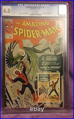 Amazing Spiderman #2 CGC 6.0 (Key Silver Age Marvel)1st Appearance Of The