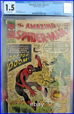 Amazing Spiderman #5 (1st App Doctor Doom) Huge Mega Marvel Key Cgc 1.5 Rare