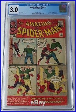 Amazing Spiderman Issue 4 Sep 1963 G/vg Cgc 3.0 1st App Sandman Lee Ditko