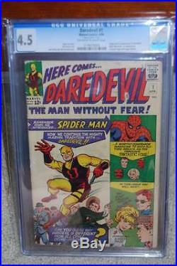 Daredevil #1 CGC 4.5 1964 Movie! Spider-Man cover! Silver Age Key! D7 115 cm