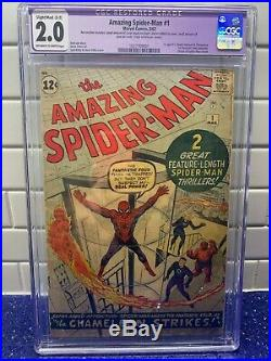 MARVEL AMAZING SPIDER-MAN #1 CGC 2.0 1ST APPEARANCE OF CHAMELEON OWithW 1963