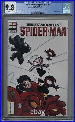 Miles Morales Spider-man # 8 CGC 9.8 SDCC Skottie Young INCL. SPIDEY NOIR PIN