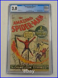 Spiderman Amazing #1 Cgc 3.0 Marvel March 1963 Off-white To White Pages (sa)