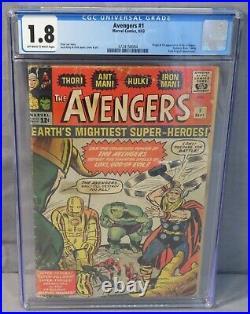 THE AVENGERS #1 (Origin & 1st Appearance of Team) CGC 1.8 GD- Marvel Comics 1963