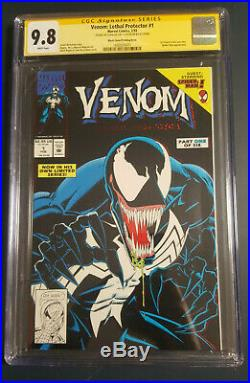 Venom Lethal Protector 1 Cgc 9.8 Ss Stan Lee Black Cover Last Book Stan Signed
