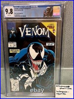 Venom Lethal Protector #1 Cgc 9.8 White Pages Black Cover Printing Error Rare